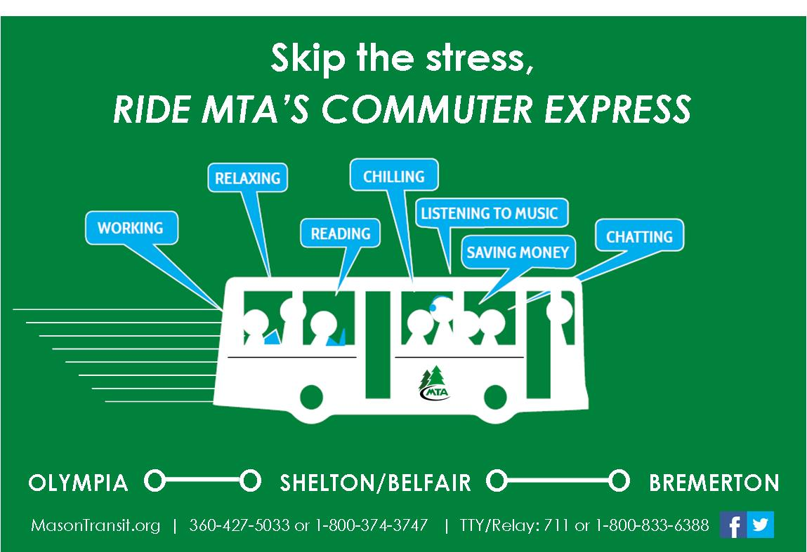 "Advertisment showing a bus silouette with people in it and thought bubbles that say, ""chilling, relaxing, reading, working, saving money,"" and promoting MTA's express service"